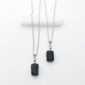Black Tourmaline Necklace Raw Gemstone Pendant October Birthstone Genuine Natural Tourmaline Stacking Layering | Natural genuine Array jewelry. Buy crystal jewelry, handmade handcrafted artisan jewelry for women.  Unique handmade gift ideas. #jewelry #beadedjewelry #beadedjewelry #gift #shopping #handmadejewelry #fashion #style #product #jewelry #affiliate #ad