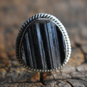 Shop Black Tourmaline Rings! black tourmaline ring,natural tourmaline ring,925 silver ring,gemstone ring,tourmaline ring,natural black tourmaline ring | Natural genuine Black Tourmaline rings, simple unique handcrafted gemstone rings. #rings #jewelry #shopping #gift #handmade #fashion #style #affiliate #ad