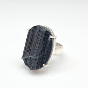 Shop Black Tourmaline Rings! Black Tourmaline Ring Size 7.5 Adjustable – Sterling Silver – Rough Black Tourmaline Ring – Natural Tourmaline Ring – Raw Tourmaline Ring | Natural genuine Black Tourmaline rings, simple unique handcrafted gemstone rings. #rings #jewelry #shopping #gift #handmade #fashion #style #affiliate #ad