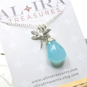 Shop Blue Chalcedony Pendants! Blue Chalcedony Necklace Sterling Silver wire wrapped natural gemstone drop pendant dragonfly charm birthday Christmas gift for her 5244 | Natural genuine Blue Chalcedony pendants. Buy crystal jewelry, handmade handcrafted artisan jewelry for women.  Unique handmade gift ideas. #jewelry #beadedpendants #beadedjewelry #gift #shopping #handmadejewelry #fashion #style #product #pendants #affiliate #ad