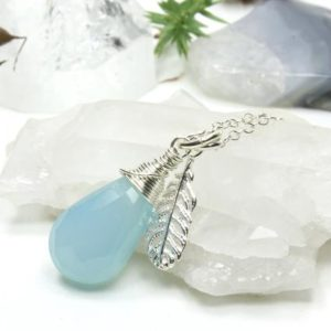 Shop Blue Chalcedony Pendants! Blue Chalcedony Necklace Sterling Silver wire wrapped natural gemstone drop pendant feather charm birthday Christmas gift for her 5243 | Natural genuine Blue Chalcedony pendants. Buy crystal jewelry, handmade handcrafted artisan jewelry for women.  Unique handmade gift ideas. #jewelry #beadedpendants #beadedjewelry #gift #shopping #handmadejewelry #fashion #style #product #pendants #affiliate #ad