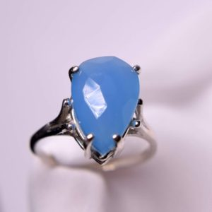 Shop Blue Chalcedony Rings! Blue Chalcedony Ring, Genuine Gemstone Pear Shaped 15 by 10 Checkerboard Cut, Set in  925 Sterling Silver Solitaire Ring | Natural genuine Blue Chalcedony rings, simple unique handcrafted gemstone rings. #rings #jewelry #shopping #gift #handmade #fashion #style #affiliate #ad
