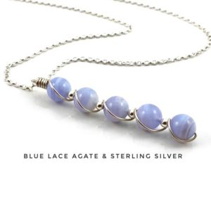 Shop Blue Lace Agate Pendants! Blue Lace Agate pendant necklace with sterling silver | Natural genuine Blue Lace Agate pendants. Buy crystal jewelry, handmade handcrafted artisan jewelry for women.  Unique handmade gift ideas. #jewelry #beadedpendants #beadedjewelry #gift #shopping #handmadejewelry #fashion #style #product #pendants #affiliate #ad