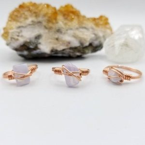 Blue Lace Agate Ring, Copper Wire Wrapped Ring | Natural genuine Gemstone rings, simple unique handcrafted gemstone rings. #rings #jewelry #shopping #gift #handmade #fashion #style #affiliate #ad