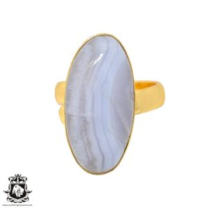 Shop Blue Lace Agate Rings! Size 6.5 – Size 8 Adjustable Blue Lace Agate 24K Gold Plated Ring GPR933   Natural genuine Blue Lace Agate rings, simple unique handcrafted gemstone rings. #rings #jewelry #shopping #gift #handmade #fashion #style #affiliate #ad