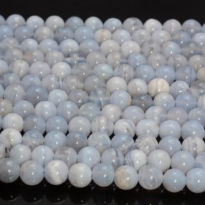 6mm Chalcedony Blue Lace Agate Gemstone Blue Round Loose Beads 15.5 inch Full Strand (90183788-368) | Natural genuine beads Array beads for beading and jewelry making.  #jewelry #beads #beadedjewelry #diyjewelry #jewelrymaking #beadstore #beading #affiliate #ad