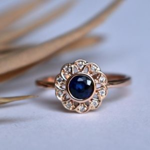 Blue Sapphire Engagement Ring with Flower Filigree Diamond in 14K Gold, Celtic Flower Blossom Lace Ring, Diamond Halo Ring | Natural genuine Array rings, simple unique alternative gemstone engagement rings. #rings #jewelry #bridal #wedding #jewelryaccessories #engagementrings #weddingideas #affiliate #ad