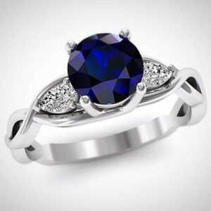 Blue Sapphire Engagement Ring, Pear Cut Natural Diamond Ring, 14K White Gold Solitaire Engagement Ring, Three Stone Wedding Ring | Natural genuine Array rings, simple unique alternative gemstone engagement rings. #rings #jewelry #bridal #wedding #jewelryaccessories #engagementrings #weddingideas #affiliate #ad