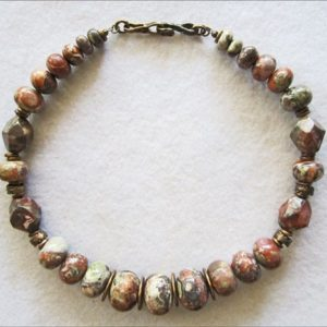 Shop Rainforest Jasper Necklaces! Bold Rainforest Jasper Necklace in Green, Orange & Terracotta   Natural genuine Rainforest Jasper necklaces. Buy crystal jewelry, handmade handcrafted artisan jewelry for women.  Unique handmade gift ideas. #jewelry #beadednecklaces #beadedjewelry #gift #shopping #handmadejewelry #fashion #style #product #necklaces #affiliate #ad