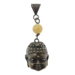 "Shop Calcite Pendants! Calcite Pendant 2.7"" Boutique Yellow Stone Antiqued Brass Spiritual Meditation Buddhist Buddha Head B01 