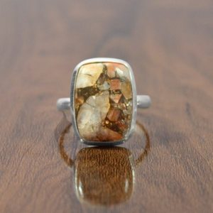 Shop Calcite Rings! Calcite Ring, Handmade Orange Copper Calcite Gemstone Ring, 925 Sterling Silver Bezel Ring, Statement Ring, Healing Gemstone Ring For Women | Natural genuine Calcite rings, simple unique handcrafted gemstone rings. #rings #jewelry #shopping #gift #handmade #fashion #style #affiliate #ad
