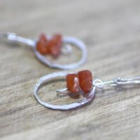 Natural Carnelian Earrings Hammered Circles Design In Solid Sterling Silver , July Birthstone , 17th Anniversary , From Canada Ooak   Natural genuine Gemstone jewelry. Buy crystal jewelry, handmade handcrafted artisan jewelry for women.  Unique handmade gift ideas. #jewelry #beadedjewelry #beadedjewelry #gift #shopping #handmadejewelry #fashion #style #product #jewelry #affiliate #ad