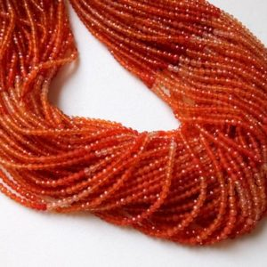 Shop Carnelian Faceted Beads! 2-2.5mm Carnelian Shaded Micro Faceted Rondelles, Orange Carnelian Rondelle, Faceted Orange Carnelian For Jewelry (1St To 5ST Options) | Natural genuine faceted Carnelian beads for beading and jewelry making.  #jewelry #beads #beadedjewelry #diyjewelry #jewelrymaking #beadstore #beading #affiliate #ad