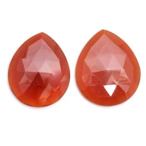 Shop Carnelian Faceted Beads! Carnelian Gemstone Color Quartz Loose 25x30mm Pear Rosecut Faceted Cabochon | Carnelian Hydro Quartz Semi Precious Gemstone Pair for Jewelry | Natural genuine faceted Carnelian beads for beading and jewelry making.  #jewelry #beads #beadedjewelry #diyjewelry #jewelrymaking #beadstore #beading #affiliate #ad