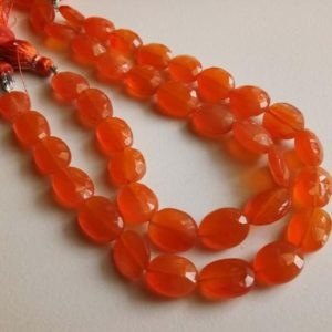 8x10mm – 9×12.5mm Carnelian Faceted Oval Beads, Natural Carnelian Oval Beads, Orange Beads, Carnelian For Necklace (4.5IN To 9IN) – ADG233 | Natural genuine other-shape Gemstone beads for beading and jewelry making.  #jewelry #beads #beadedjewelry #diyjewelry #jewelrymaking #beadstore #beading #affiliate #ad