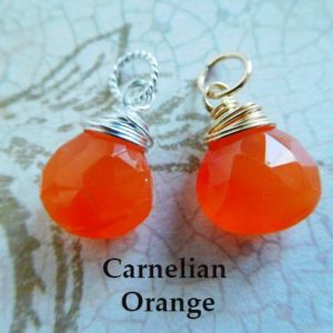 Chalcedony Charm Pendant  Drop Dangle / 18-20 mm, CARNELIAN ORANGE / bridesmaid friend mom sister gift for her under 10 / gd gemdone fdv1.v1 | Natural genuine Carnelian pendants. Buy crystal jewelry, handmade handcrafted artisan jewelry for women.  Unique handmade gift ideas. #jewelry #beadedpendants #beadedjewelry #gift #shopping #handmadejewelry #fashion #style #product #pendants #affiliate #ad