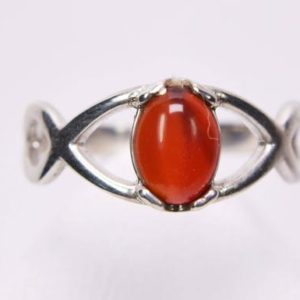 Shop Carnelian Rings! Carnelian Ring, Genuine Gemstone Cabochon Cut 10x8mm Oval Stone, Set in 925 Sterling Silver Split Band Ring | Natural genuine Carnelian rings, simple unique handcrafted gemstone rings. #rings #jewelry #shopping #gift #handmade #fashion #style #affiliate #ad