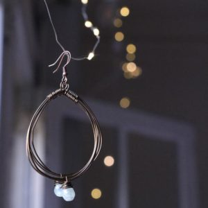 Shop Celestite Earrings! Celestine divinity hoops | Natural genuine Celestite earrings. Buy crystal jewelry, handmade handcrafted artisan jewelry for women.  Unique handmade gift ideas. #jewelry #beadedearrings #beadedjewelry #gift #shopping #handmadejewelry #fashion #style #product #earrings #affiliate #ad
