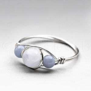 Celestite Crystal & Angelite Sterling Silver Wire Wrapped Gemstone BEAD Ring – Made to Order, Ships Fast! | Natural genuine Gemstone jewelry. Buy crystal jewelry, handmade handcrafted artisan jewelry for women.  Unique handmade gift ideas. #jewelry #beadedjewelry #beadedjewelry #gift #shopping #handmadejewelry #fashion #style #product #jewelry #affiliate #ad
