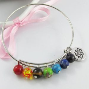 Shop Chakra Bracelets! Chakra Bead Lotus Flower Charm Bracelet Bangle 64mm | Shop jewelry making and beading supplies, tools & findings for DIY jewelry making and crafts. #jewelrymaking #diyjewelry #jewelrycrafts #jewelrysupplies #beading #affiliate #ad