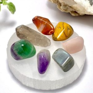 Shop Chakra Stone Sets! Chakra Stone Set With Selenite Charging Plate | Shop jewelry making and beading supplies, tools & findings for DIY jewelry making and crafts. #jewelrymaking #diyjewelry #jewelrycrafts #jewelrysupplies #beading #affiliate #ad