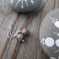 Charoite Earrings, Green And Purple Gemstone, Dangle Earrings, Small And Simple | Natural genuine Gemstone jewelry. Buy crystal jewelry, handmade handcrafted artisan jewelry for women.  Unique handmade gift ideas. #jewelry #beadedjewelry #beadedjewelry #gift #shopping #handmadejewelry #fashion #style #product #jewelry #affiliate #ad