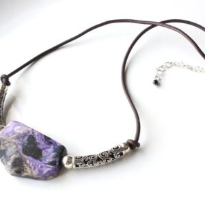 Shop Charoite Necklaces! Charoite Necklace Sterling Silver Genuine Leather natural gemstone bohemian statement choker birthday mother's day gift for her women 6040a | Natural genuine Charoite necklaces. Buy crystal jewelry, handmade handcrafted artisan jewelry for women.  Unique handmade gift ideas. #jewelry #beadednecklaces #beadedjewelry #gift #shopping #handmadejewelry #fashion #style #product #necklaces #affiliate #ad