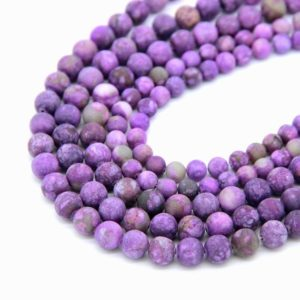 Shop Charoite Bead Shapes! Matte Charoite Beads 6mm 8mm 10mm Dyed Charoite Frosted Beads Purple Mala Beads Matte Lalic Gemstone Beads Charoite Jewelry Making Supplies | Natural genuine other-shape Charoite beads for beading and jewelry making.  #jewelry #beads #beadedjewelry #diyjewelry #jewelrymaking #beadstore #beading #affiliate #ad