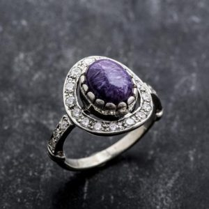 Shop Charoite Rings! Charoite Ring, Natural Charoite, Vintage Ring, Scorpio Birthstone, Purple Ring, Purple Charoite, Solid Silver Ring, Vintage Rings, Charoite | Natural genuine Charoite rings, simple unique handcrafted gemstone rings. #rings #jewelry #shopping #gift #handmade #fashion #style #affiliate #ad