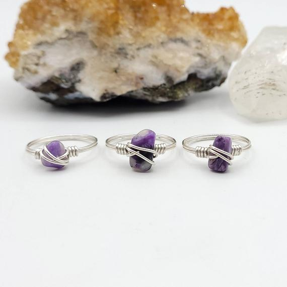 Charoite Ring, Silver Wire Wrapped Ring