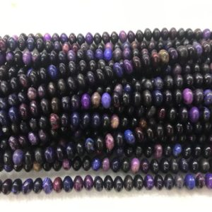 Shop Sugilite Beads! Chinese Sugilite 8mm Rondelle Loose Black Purple Dyed Natural Beads 15 inch Jewelry Supply Bracelet Necklace Material Support Wholesale | Natural genuine rondelle Sugilite beads for beading and jewelry making.  #jewelry #beads #beadedjewelry #diyjewelry #jewelrymaking #beadstore #beading #affiliate #ad
