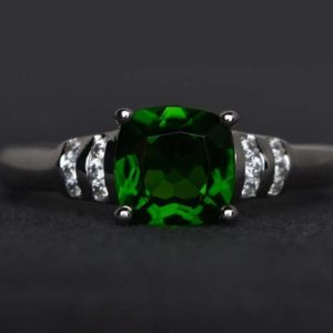 Shop Diopside Rings! chrome diopside ring engagement ring cushion cut sterling silver ring green ring gemstone ring promise ring | Natural genuine Diopside rings, simple unique alternative gemstone engagement rings. #rings #jewelry #bridal #wedding #jewelryaccessories #engagementrings #weddingideas #affiliate #ad