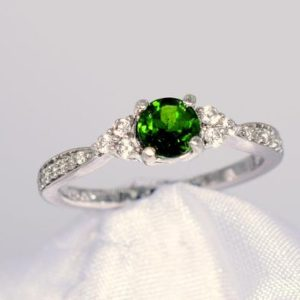 Shop Diopside Rings! Chrome Diopside Ring, Genuine Gemstone 5mm Faceted Round, CZ Accents, Set in 925 Sterling Silver Mounting | Natural genuine Diopside rings, simple unique handcrafted gemstone rings. #rings #jewelry #shopping #gift #handmade #fashion #style #affiliate #ad