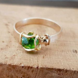 Shop Diopside Rings! Chrome-Diopside ring, Gold filled ring, Teen girl ring, Gift for a teen girl, Gemstone ring, Delicate, Minimalistic, Tiny Stackable Ring. | Natural genuine Diopside rings, simple unique handcrafted gemstone rings. #rings #jewelry #shopping #gift #handmade #fashion #style #affiliate #ad