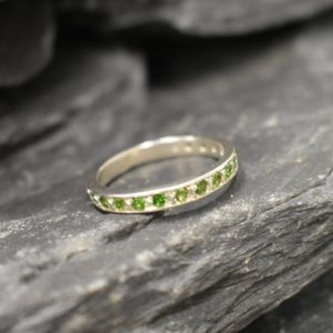 Shop Diopside Rings! Chrome Diopside Ring, Chrome Ring, Natural Diopside, Full Eternity Ring, Green Diamond Band, Diopside Ring, Vintage Ring, Solid Silver Ring | Natural genuine Diopside rings, simple unique handcrafted gemstone rings. #rings #jewelry #shopping #gift #handmade #fashion #style #affiliate #ad
