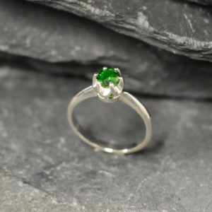 Shop Diopside Rings! Chrome Diopside Ring, Natural Chrome, Pisces Birthstone, Promise Ring, Vintage Ring, Green Diamond Ring, Solitaire Ring, Solid Silver Ring | Natural genuine Diopside rings, simple unique handcrafted gemstone rings. #rings #jewelry #shopping #gift #handmade #fashion #style #affiliate #ad