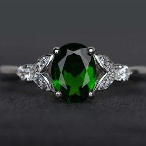 Shop Diopside Rings! chrome diopside ring oval cut engagement ring chrome diopside jewelry green ring gemstone ring sterling silver ring | Natural genuine Diopside rings, simple unique alternative gemstone engagement rings. #rings #jewelry #bridal #wedding #jewelryaccessories #engagementrings #weddingideas #affiliate #ad