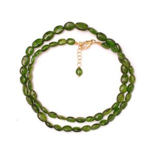 Shop Diopside Necklaces! Chromediopside Smooth Oval Beaded Necklace,7×5-10×6 mm Chrome Diopside Beads Jewelry, Chromediopside 18 Inch Chrome diopside Necklace | Natural genuine Diopside necklaces. Buy crystal jewelry, handmade handcrafted artisan jewelry for women.  Unique handmade gift ideas. #jewelry #beadednecklaces #beadedjewelry #gift #shopping #handmadejewelry #fashion #style #product #necklaces #affiliate #ad