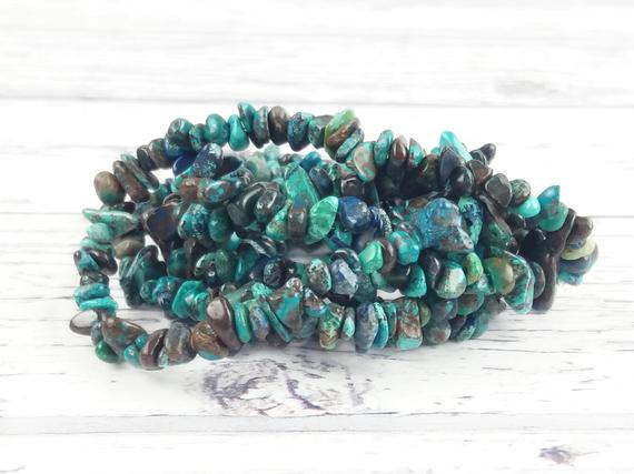 Chrysocolla Gemstone Beads, Crystal Chips Bag Of 50 Pieces, Reiki Infused A Extra Grade Chrysocolla Beads