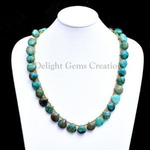 Shop Chrysocolla Necklaces! Chrysocolla Fancy Briolettes Beaded Necklace, 12x13mm Chrysocolla Fancy Pear Beads, Blue-Green Chrysocolla Beaded Necklace, Party Necklace | Natural genuine Chrysocolla necklaces. Buy crystal jewelry, handmade handcrafted artisan jewelry for women.  Unique handmade gift ideas. #jewelry #beadednecklaces #beadedjewelry #gift #shopping #handmadejewelry #fashion #style #product #necklaces #affiliate #ad