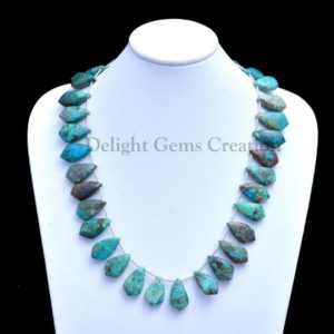Shop Chrysocolla Necklaces! Chrysocolla Fancy Shape Briolettes Necklace, 12x21mm Chrysocolla Fancy Pear Beads, Blue-Green Chrysocolla Beaded Necklace, Boho Necklace | Natural genuine Chrysocolla necklaces. Buy crystal jewelry, handmade handcrafted artisan jewelry for women.  Unique handmade gift ideas. #jewelry #beadednecklaces #beadedjewelry #gift #shopping #handmadejewelry #fashion #style #product #necklaces #affiliate #ad