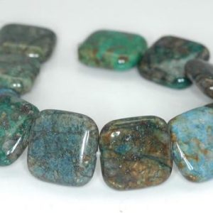Shop Chrysocolla Bead Shapes! 18X18mm Brown Green Chrysocolla Gemstone Square Beads 7.5 inch Half Strand BULK LOT 1,2,6,12 and 50 (90188496-675) | Natural genuine other-shape Chrysocolla beads for beading and jewelry making.  #jewelry #beads #beadedjewelry #diyjewelry #jewelrymaking #beadstore #beading #affiliate #ad