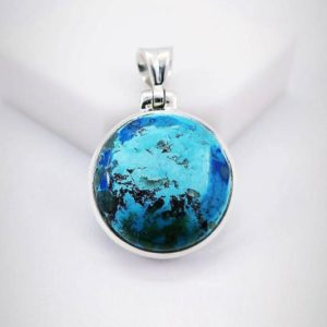 Shop Chrysocolla Pendants! Natural Shattuckite Pendant, 925 Sterling Silver, Shattuckite Chrysocolla, Boho Pendant, Nature;s Gemstone, Christmas Gift, Free Shipping. | Natural genuine Chrysocolla pendants. Buy crystal jewelry, handmade handcrafted artisan jewelry for women.  Unique handmade gift ideas. #jewelry #beadedpendants #beadedjewelry #gift #shopping #handmadejewelry #fashion #style #product #pendants #affiliate #ad