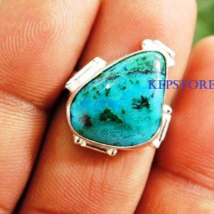 Shop Chrysocolla Rings! Chrysocolla Ring, 925 Sterling Silver Ring, Chrysocolla Gemstone Ring, Designer Ring, Gift For Her, Chrysocolla Jewelry, r24 | Natural genuine Chrysocolla rings, simple unique handcrafted gemstone rings. #rings #jewelry #shopping #gift #handmade #fashion #style #affiliate #ad