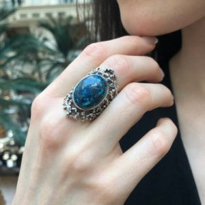 Shop Chrysocolla Rings! Blue Chrysocolla Ring, Natural Chrysocolla, Vintage Ring, Statement Ring, Aries Birthstone, Large Blue Ring, Chunky Ring, Solid Silver Ring | Natural genuine Chrysocolla rings, simple unique handcrafted gemstone rings. #rings #jewelry #shopping #gift #handmade #fashion #style #affiliate #ad