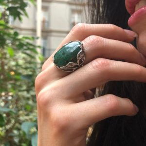 Shop Chrysocolla Rings! Chrysocolla Ring, Leaf Ring, Statement Ring, Vintage Ring, Large Green Ring, Floral Ring, Large Oval Ring, Artistic Ring, Solid Silver Ring | Natural genuine Chrysocolla rings, simple unique handcrafted gemstone rings. #rings #jewelry #shopping #gift #handmade #fashion #style #affiliate #ad
