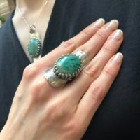 Long Green Ring, Chrysocolla Ring, Shield Ring, Tribal Ring, Symbolic Ring, Green Ring, Vintage Ring, Artistic Ring, Solid Silver Ring | Natural genuine Gemstone jewelry. Buy crystal jewelry, handmade handcrafted artisan jewelry for women.  Unique handmade gift ideas. #jewelry #beadedjewelry #beadedjewelry #gift #shopping #handmadejewelry #fashion #style #product #jewelry #affiliate #ad