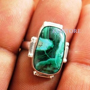 Shop Chrysocolla Rings! Chrysocolla Malchite Ring, handmade Ring, 925 Sterling Silver Ring, chrysocolla Malachite Gemstone Ring, gemstone Ring, gift For Her, r20 | Natural genuine Chrysocolla rings, simple unique handcrafted gemstone rings. #rings #jewelry #shopping #gift #handmade #fashion #style #affiliate #ad