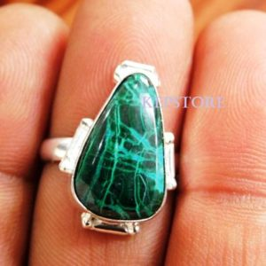 Shop Chrysocolla Rings! Chrysocolla Malchite Ring, Handmade Ring, sterling Silver Ring, chrysocolla Malachite Gemstone Ring, Gemstone Ring, Gift For Her, 28 | Natural genuine Chrysocolla rings, simple unique handcrafted gemstone rings. #rings #jewelry #shopping #gift #handmade #fashion #style #affiliate #ad