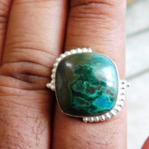 Shop Chrysocolla Rings! Chrysocolla Ring, Statement Ring, Boho Ring, 925 Sterling Silver Ring, Artisan Ring, Chrysocolla Gemstone Ring, Gift For Her, J9 | Natural genuine Chrysocolla rings, simple unique handcrafted gemstone rings. #rings #jewelry #shopping #gift #handmade #fashion #style #affiliate #ad